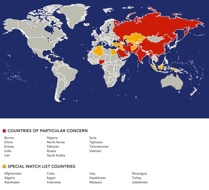 Комиссия США вновь причислила РФ к нарушителям свободы религии