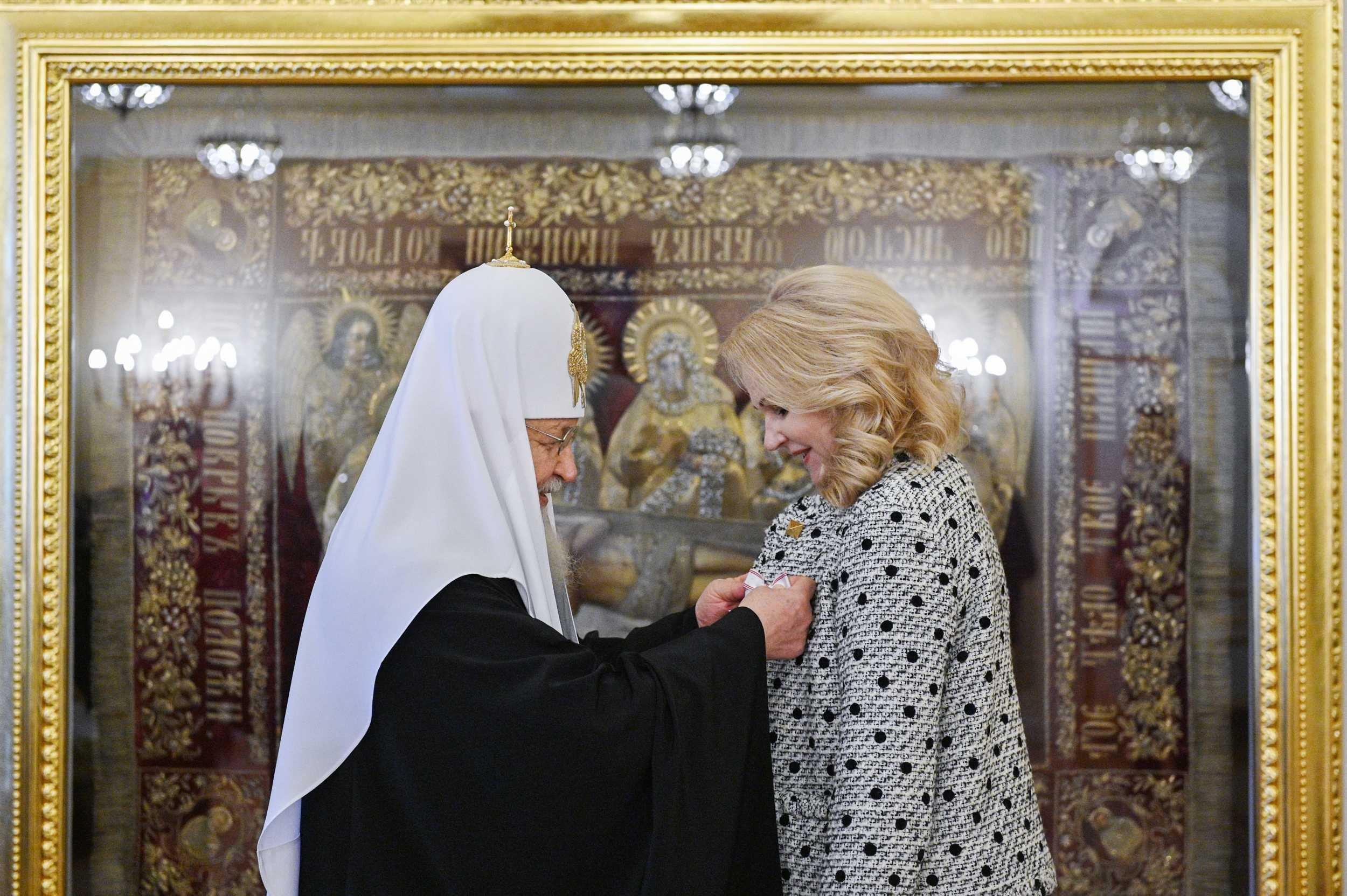 Патриарх Кирилл наградил Голикову орденом Евфросинии